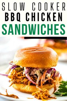 If you like easy recipes that make the whole family happy, you are going to love these Shredded BBQ Chicken Sandwich Recipe. With a tangy sauce and a deliciously crunchy slaw, this is one that is loved by kids and adults alike. Our entire family is while about this pulled chicken and I think yours will be too. This recipe has saved dinner at our house more times than I can count. Slow Cooker Bbq, Healthy Slow Cooker, Slow Cooker Chicken, Slow Cooker Recipes, Bbq Chicken Sandwich, Bbq Sandwich, Sandwiches, Gluten Free Recipes For Breakfast, Healthy Dinner Recipes