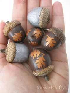 painted and decoupaged acorns