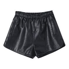 Ruffles High Waist PU Leather Shorts ($19) ❤ liked on Polyvore featuring shorts, high rise shorts, ruffle shorts, frilly shorts, high-waisted shorts and leatherette shorts