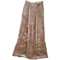 LONG SILK SKIRT DRIES VAN NOTEN (18,370 KRW) ❤ liked on Polyvore featuring skirts, silk maxi skirts, long polka dot skirt, dries van noten, long brown maxi skirt and polka dot maxi skirt