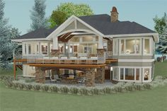 I adore this house! Cottage - exterior rear/side -- Plan 2 Bed Craftsman with Option for 2 More (Architectural Designs) Basement House Plans, Lake House Plans, Craftsman House Plans, House Floor Plans, Craftsman Style, Walkout Basement Patio, Coastal House Plans, Craftsman Homes, Craftsman Exterior