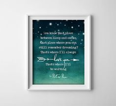 Nursery Wall Art Peter Pan Quote Art Print You know that