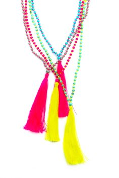 Long Tassel Necklace, Japanese Glass Beads, Colorful Long Tassel Necklace, colorful beaded necklace, neon necklace. $25.00, via Etsy.
