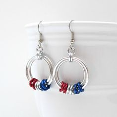 Red white and blue chainmail earrings by TattooedAndChained, $15.00