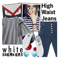 """""""High- Waisted Jeans (and white sneakers)"""" by ansev ❤ liked on Polyvore featuring Essie, Topshop, Fendi, adidas Originals, croptops, sunglasses, highwaistedjeans, stripedtop and whitesneakers"""