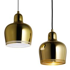 Golden Bell Savoy is a new version of pendant launched in 2017 for the anniversary of the Restaurant Savoy in Helsinki. The Golden Bell pendant was originally designed by Alvar Aalto for the Restaurant Savoy in Alvar Aalto, Helsinki, Pendant Lamp, Pendant Lighting, Ceiling Lamp, Ceiling Lights, Modern Architects, Ceiling Detail, Design Bestseller