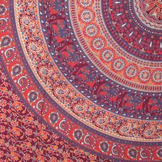 Indian Mandala Print Wall Hanging Bedspread Tapestry Throw Decor Cotton India 9 #Unbranded