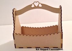"This is the Mini or Petite Gift Box, cut from 1/8"" thick (thin) MDF (a wood fiber product) that is shipped unassembled and ready for you to glue, paint, and embellish to suit the occasion. $5. each or 6 for $30. USPS flat rate shipping @ $5.75 ^ boxes will fit in one flat rate box."