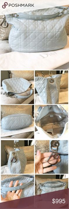 """Christian Dior Cannage Blue Leather Hobo Bag Gorgeous authentic Christian Dior baby blue leather with signature Dior cannage pattern throughout. Silver tone hardware, silver Dior logo charm at side. Excellent pre owned condition. Minimal wear on handles as shown. Bag very clean and great color for summer! Comes with dust bag. Magnetic closure. Measures approx 12"""" X 11"""" X 3.75"""" and handle drop 3"""" Dior Bags Hobos"""