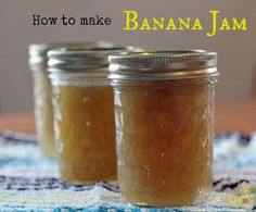 How to make banana jam:  2 c of mashed bananas (about 5 small)  2 c sugar  2 tbsp lime or lemon juice Fill water bath canner with water  bring to a boil. Wash  jars, rings,  lids. Fill jars with very hot water to sterilize. Put all ingredients in pan  stir occasionally. Boil jam 5 min. Ladle jam into jars. Leave ⅛ inch head space Wipe rim of jar  Put lids  rings on.lower the jars into boiling water  process for 10 min.     Remove from water bath canner and allow to cool completely on towel.