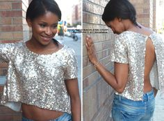 Sequined Backless Crop Top Inspired by Rihanna 5 - can't do backless, but Iike the sequined tee