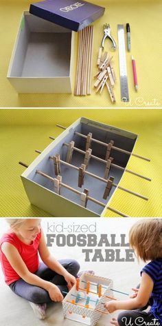 Would be cool to paint the sticks and clothes pins two different colors for this Mini Foosball Table For Kids - I love make your own toy projects! Diy Crafts For Kids, Projects For Kids, Fun Crafts, Arts And Crafts, Diy Projects, Kids Diy, 5 Kids, Diy Games, Diy Toys