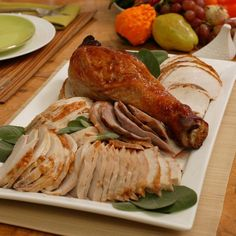 Ted Allen created this recipe for Epicurious as part of a Thanksgiving menu.  For Allen's tips on throwing a Thanksgiving party, click here.  You can marinate the turkey in brine, as specified here, or you can skip that step and just rub the pieces with butter, salt, pepper, and herbs. I wouldn't skip it, though — brining is the best thing ever to happen to turkey, producing lovely, moist meat, beautifully seasoned through and through.