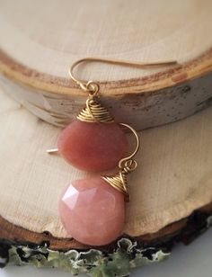 Faceted Pink Opal Heart Shaped Briolette Gold by Bellebijouatelier