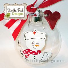 Personalized Nurse Snowman Ornament by doodlepaddesigns on Etsy, $12.95