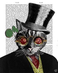Ste&unk Cat Print in Top Hat Art Print Digital by FabFunky $12.00  sc 1 st  Pinterest : steampunk cat costume  - Germanpascual.Com