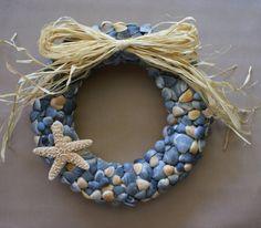 Shell wreath 11 dark blue nautical coastal decor by JustShellin