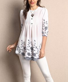 Look at this #zulilyfind! White Floral Chiffon Notch Neck Pin Tuck Tunic - Plus #zulilyfinds