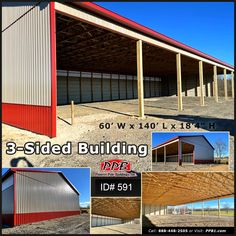"Get the equipment and materials out of the weather and still have room to work! Pole Building Dimensions: 60' W x 140' L x 18' 4"" H (ID# 591) Two-Tone 3-Sided Building 60' Standard Trusses, 4' on Center 4/12 Pitch #open #huge #garage #red #clay Barn Builders, Pole Buildings, Garage Design, 4 H, Garages, Pitch, Industrial, Clay, Weather"
