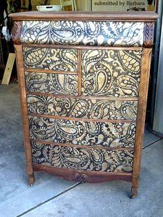 Cutting Edge Stencils - Paisley Allover Stenciled Dresser