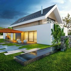 Otwarty - dom parterowy z poddaszem użytkowym i garażem   doomo Facade House, Dream Houses, Home Projects, Ideas Para, New Homes, 1, Architecture, Outdoor Decor, Summer