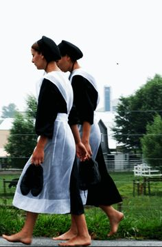 Amish girls walking back from church