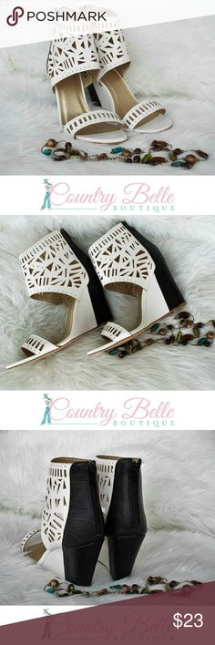 """Laser cutout wedge sandals These are so cute on. and go with just about everything. Open toe - Laser cutout details - Back zip closure - Approx. 2.625"""" opening circumference - Approx. 4.12"""" heel - Imported Materials: All manmade materials Yoki Shoes Sandals"""