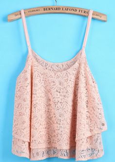 Pink Spaghetti Strap Cascading Ruffle Lace Vest EUR€14.00