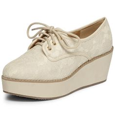 Cream crochet laceup flatforms - Shoes & Boots - View All Sale  - Sale & Offers