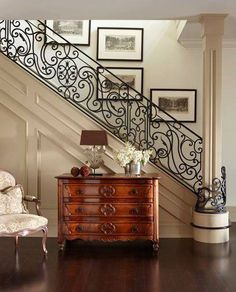 Foyer with wrought iron staircase railing by interior designer Sera Hersham-Loftus. Style At Home, Staircase Railings, Banisters, Hand Railing, Wrought Iron Railings, Rod Iron Railing, Staircase Molding, My Dream Home, Home Fashion