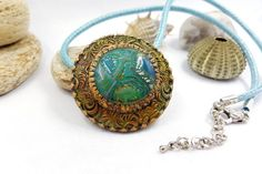 "Polymer Clay Necklace ""Artifact of Atlantis"" - Handmade Stylish Pendant from…"