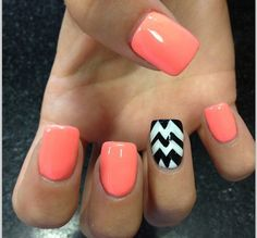 By+Bree+Fuller.+Coral+and+B+Chevron+Stripe!+Go+to+CVS+and+get+V+French+Manicure+stickers+to+get+Chevron+Stripe!+@BLOOM.COM