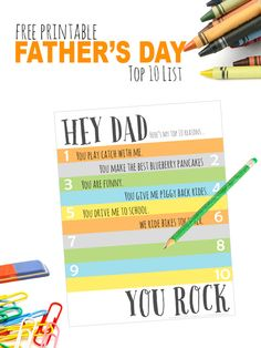 A perfect addition to any Father's Day gift, this Father's Day Printable Top 10 List is fun and easy to fill out....and dad will love it!