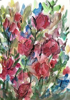 Sirkkaliisa Virtanen: Rosegarden, watercolor Still Life Painting, Art For Art Sake, Watercolor, Illustration, Drawings, Still Life, Painting, Art, Fruit Art