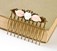 Shabby Chic Hair Comb  Bridesmaid Gift Pink Leaves and by lonkoosh, $22.00