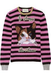 Gucci刺绣条纹羊毛羊绒混纺毛衣
