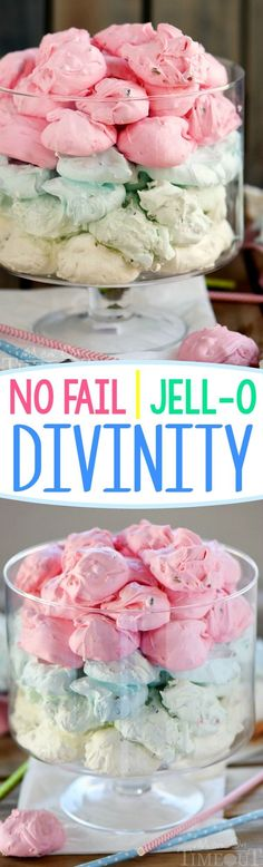 This easy No Fail Jell-O Divinity recipe is sure to delight the. This easy No Fail Jell-O Divinity recipe is sure to delight the child in everyone! Pretty pastel candies are the essential treat for your Easter holiday! Lovely for baby showers too! Christmas Treats, Christmas Baking, Holiday Treats, Holiday Recipes, Christmas Holidays, Christmas Cookies, Easy Christmas Candy Recipes, Holiday Candy, Jello Divinity Recipe