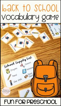 This fun back to school themed matching game is a great way to develop functional vocabulary skills for basic school supplies. This game can be used for basic game play in preschools or special education classrooms.Students can practice turn taking and basic social skills while playing.  It can also be used during speech therapy sessions. Pair it with drill work as a reinforcing activity for kindergarten and early elementary students!