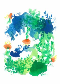 Water Garden By Sarah Jane Lightfoot Windsor Newton Inks on Arches Medium A4 Paper