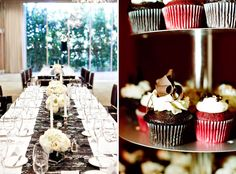 the centrepieces, not the cupcakes, lol.  Imagine burlap runner instead though?  Or lace.