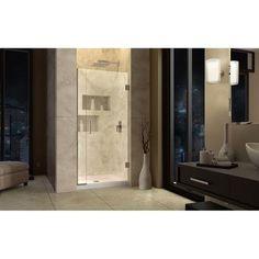 """DreamLine UniDoor Plus 34"""" x 72"""" Hinged Shower Door with Hardware Trim Finish:"""