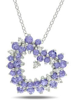 1.8 Ct Tanzanite & 0.125 Ct Diamond Pendant In Silver ❤