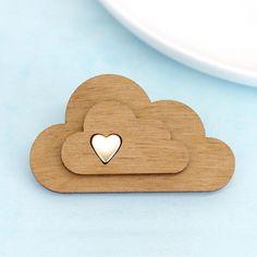 Wooden Cloud Brooch Laser Cut Cloud Pin by mariaallenboutique