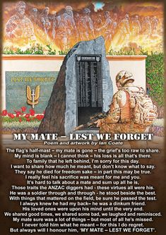 This site showcases Australian Military Artworks, Poems and Soldier's Ballads created by military artist, Ian Coate. Lest We Forget Poem, Lest We Forget Anzac, Remembrance Day Posters, Remembrance Day Poppy, Anzac Day Australia, Soldier Poem, Anzac Soldiers, Hero Quotes, Australian Defence Force