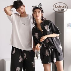 [USD Belle summer thin couples summer cotton pajamas cardigan women's home clothes men can wear cotton sets outside - Wholesale from China online shopping Night Suit For Women, Couple Outfits, Couple Clothes, Couple Pajamas, Cute Pajama Sets, Cute Sleepwear, Pajama Outfits, Stylish Dresses For Girls, Pajamas Women