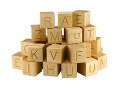 20 Natural Wooden English Alphabet Blocks ABC by KlikKlakBlocks, $31.90