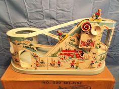 SUPER RARE 1950'S VINTAGE CHEIN & CO. SKI RIDE TIN TOY WITH BOX !! NICE !!