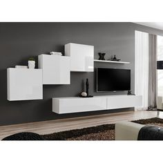 JUSTyou Swotch X wall unit white graphite - Modern Living Room Furniture Sets, Living Room Tv, Living Room Wall Units, Modern Wall Units, Living Room Entertainment Center, Living Room Sets Furniture, Modern Furniture Living Room, Wall Unit, Living Room Furniture