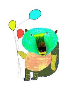 Balloon Bear. Kids Decor by Ashley Percival. by AshleyPercival, $30.00