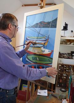 George Fox working on Boats at Collioure for The Art of Conversation, his exhibition with Hilary Fox at Harbour House, Kingsbridge, June 2015